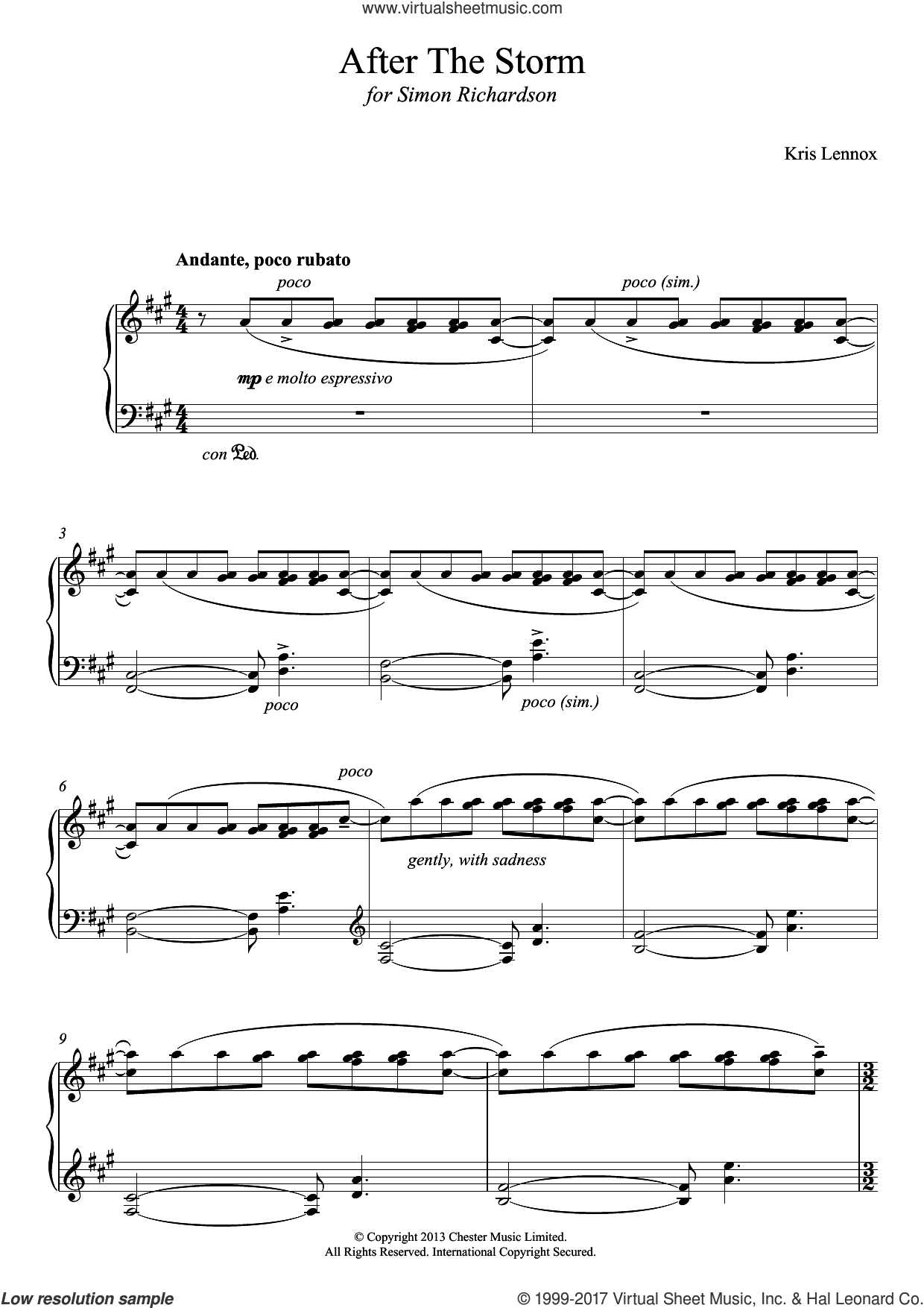 After The Storm sheet music for piano solo by Kris Lennox, classical score, intermediate skill level