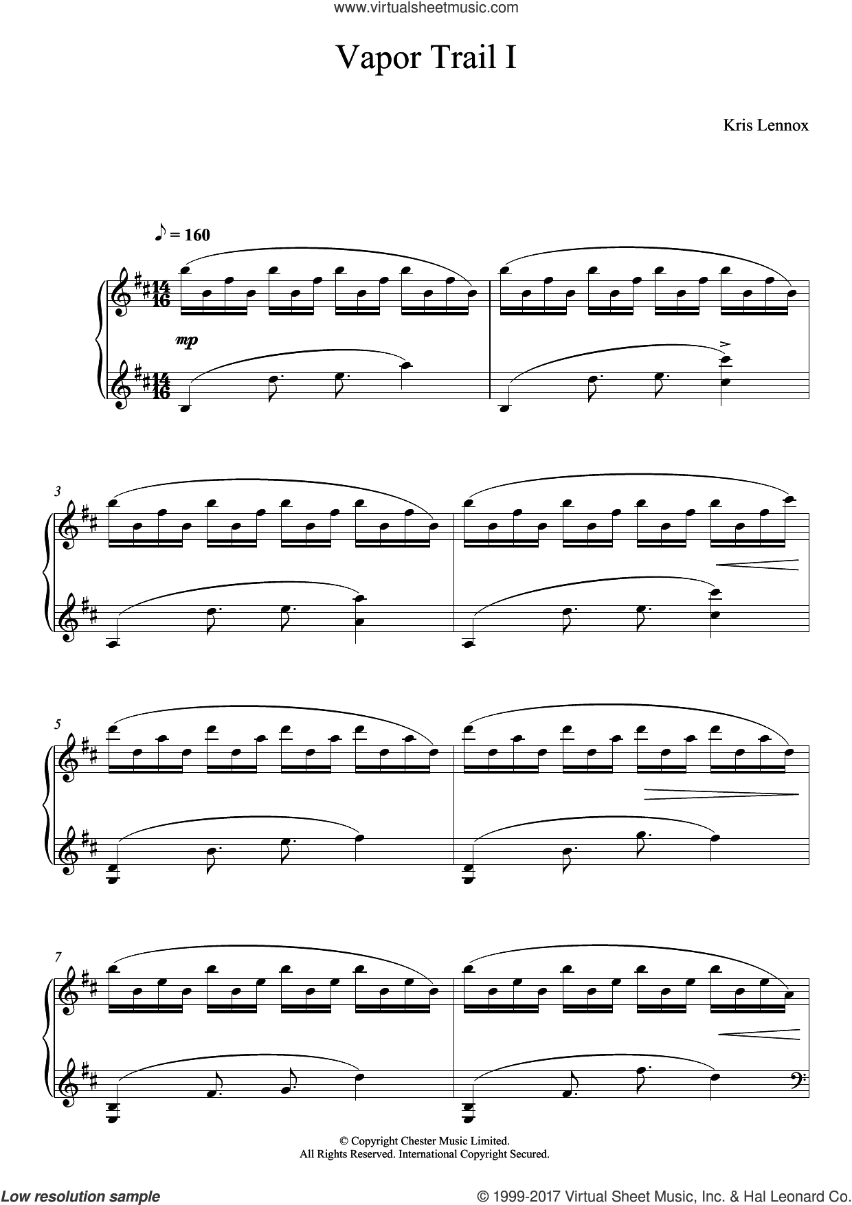 Vapor Trails I sheet music for piano solo by Kris Lennox, classical score, intermediate skill level