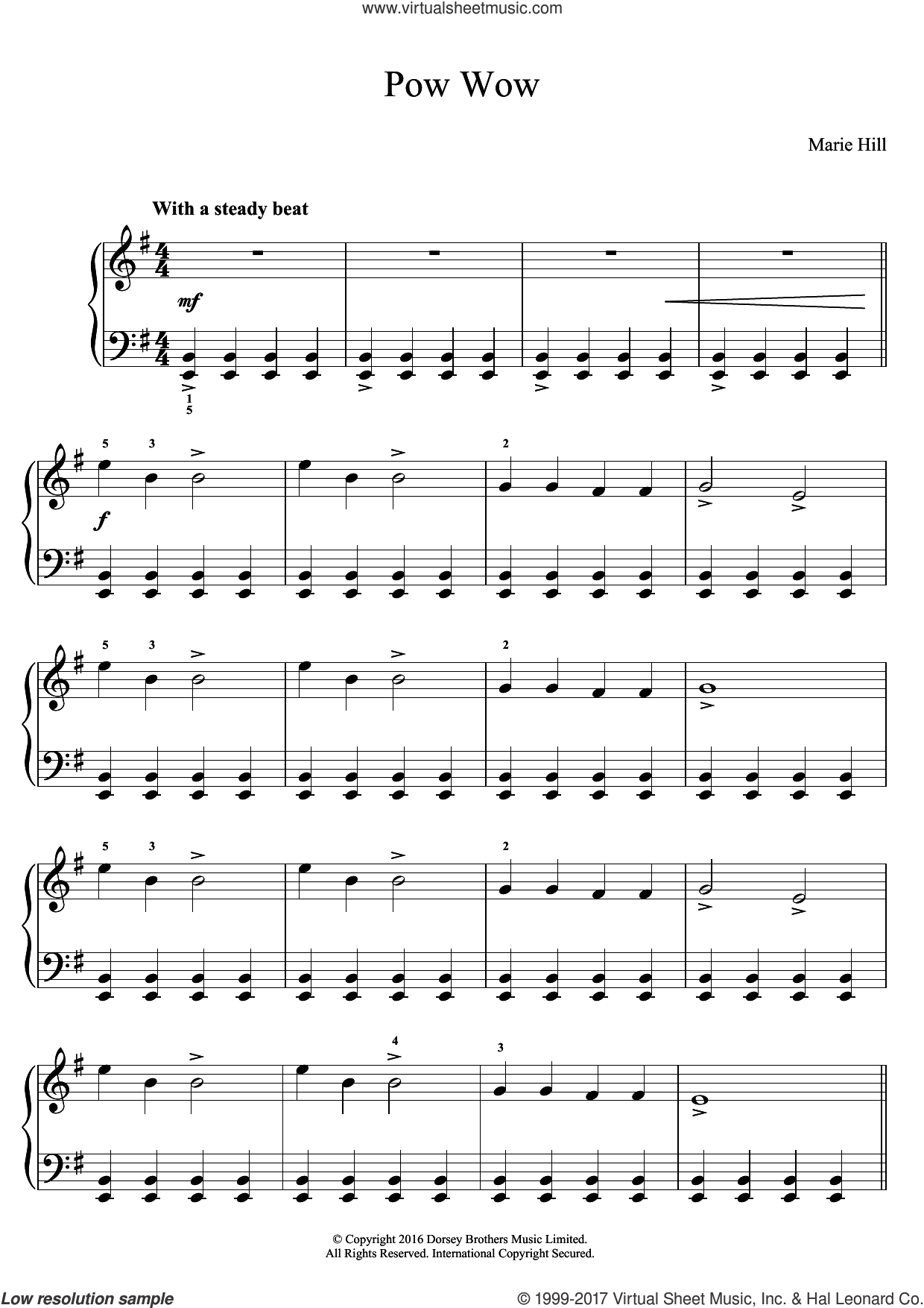 Pow Wow sheet music for piano solo by Marie Hill, classical score, easy skill level