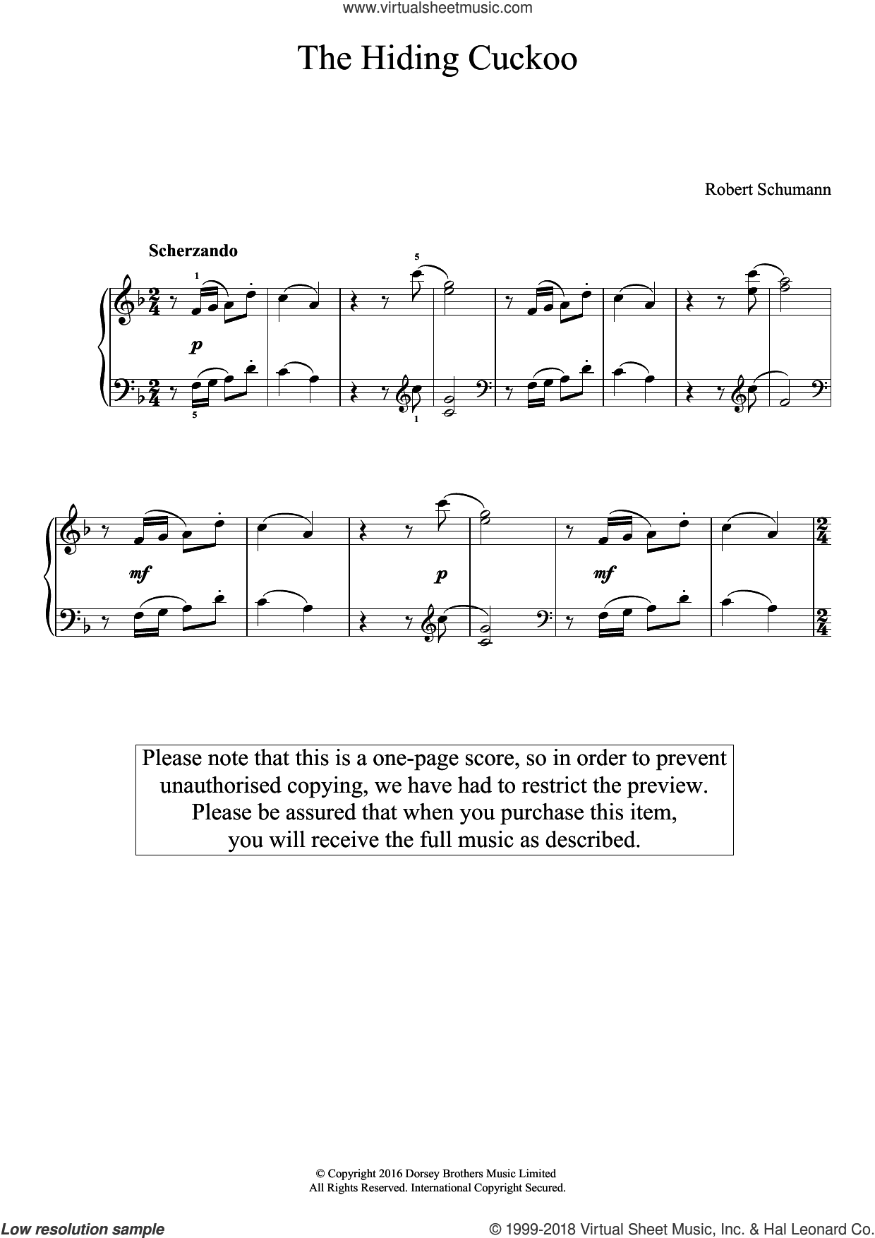 The Hiding Cuckoo sheet music for piano solo by Robert Schumann, classical score, easy skill level