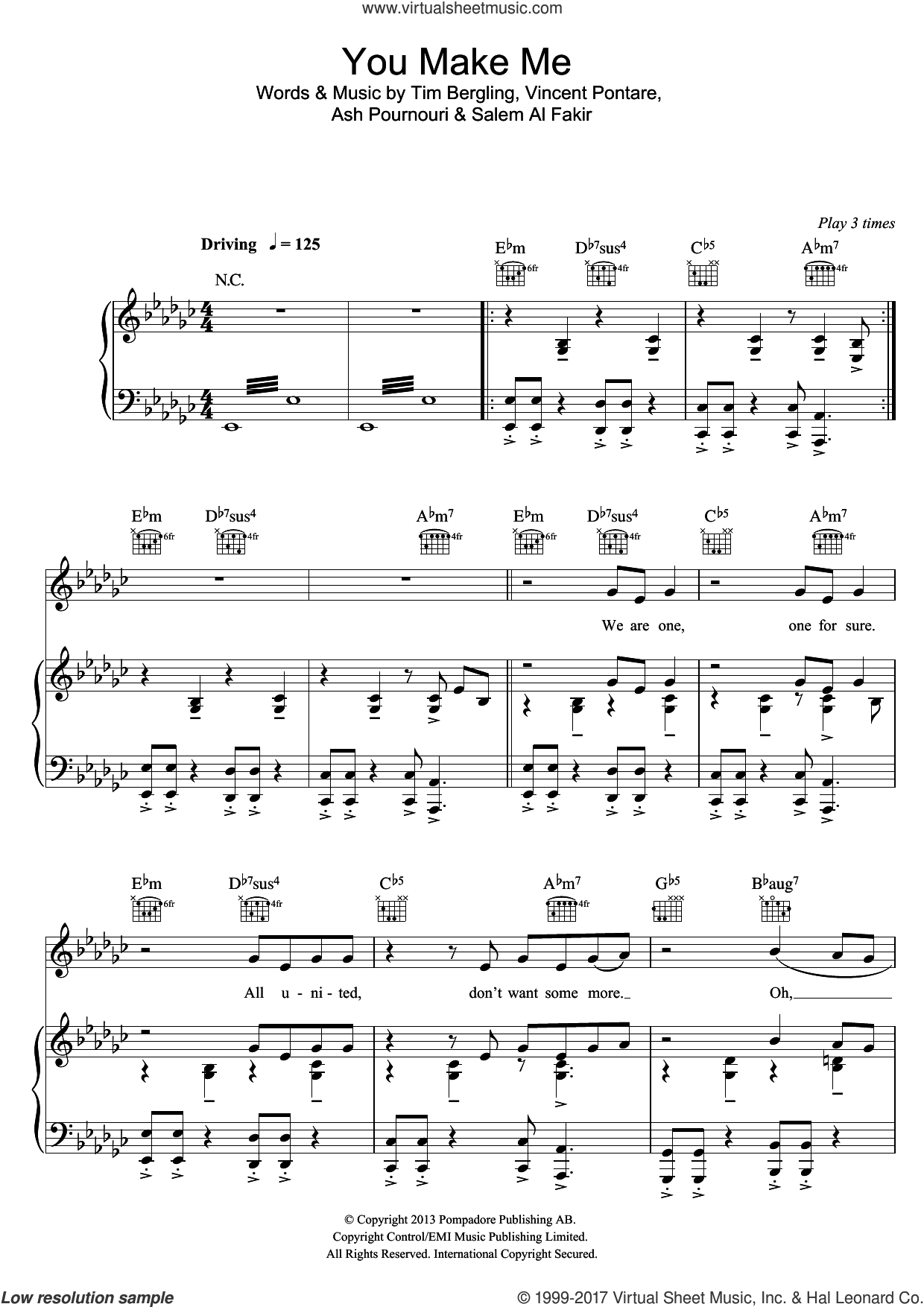 You Make Me sheet music for voice, piano or guitar by Avicii, Ash Pournouri, Salem Al Fakir, Tim Bergling and Vincent Pontare, intermediate skill level