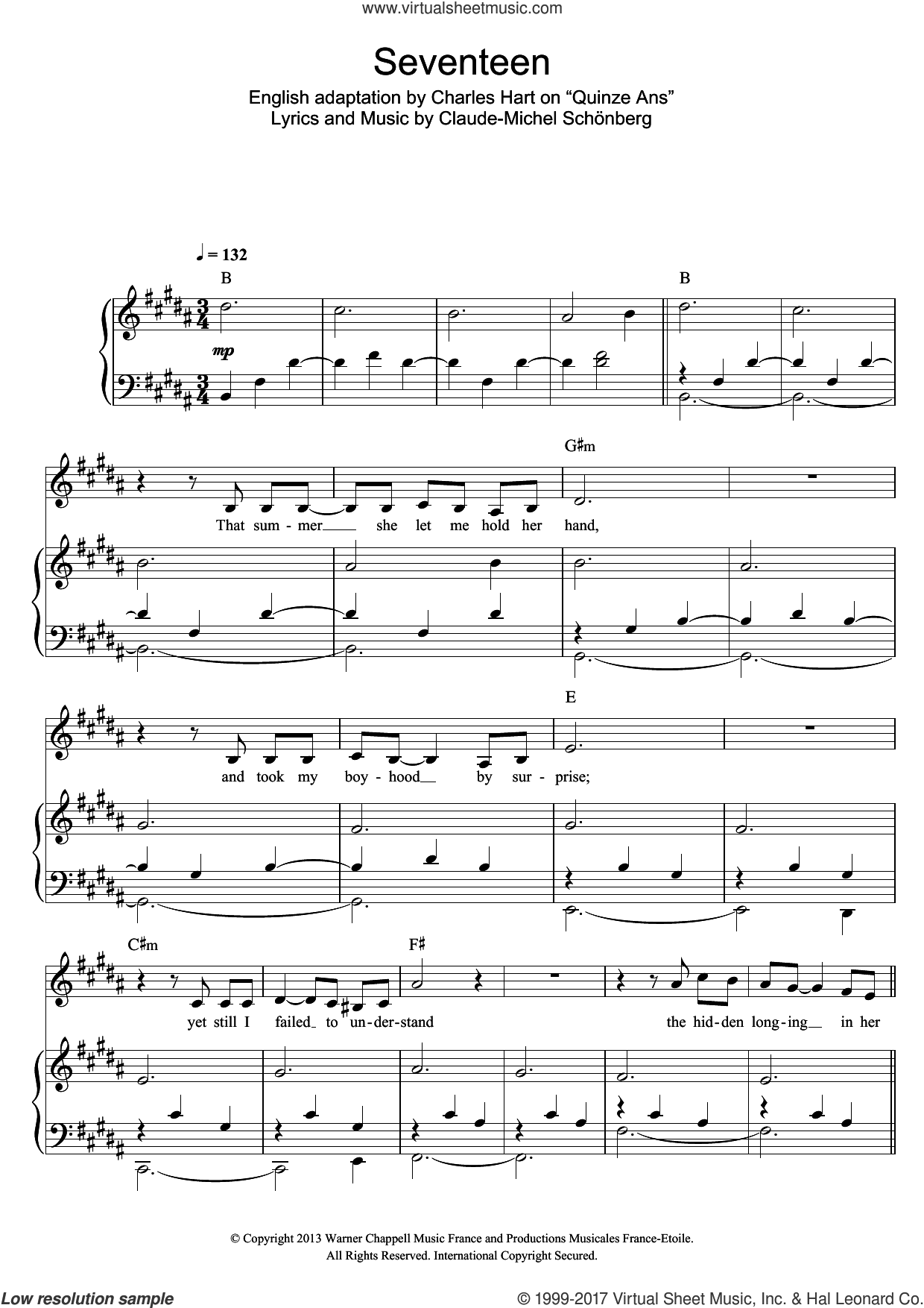 Seventeen sheet music for voice and piano by Russell Watson, Charles Hart and Claude-Michel Schonberg, classical score, intermediate skill level