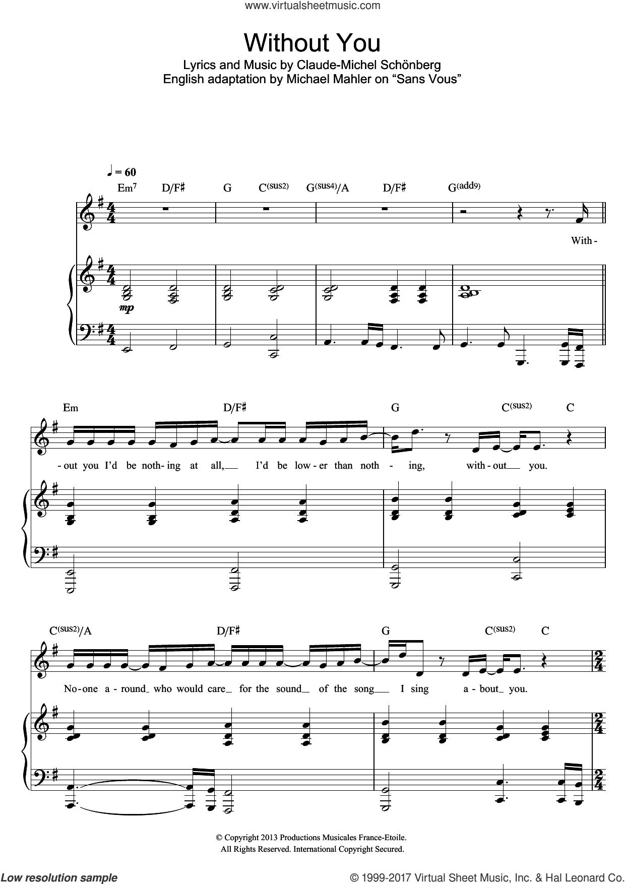 Without You sheet music for voice and piano by Russell Watson, Claude-Michel Schonberg and Michael Mahler, classical score, intermediate skill level