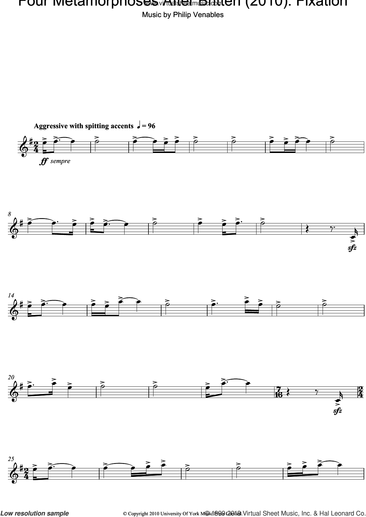 Four Metamorphoses After Britten (2010): Fixation sheet music for oboe solo by Philip Venables, classical score, intermediate skill level
