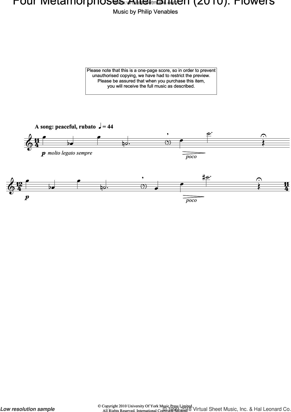 Four Metamorphoses After Britten (2010): Flowers sheet music for oboe solo by Philip Venables, classical score, intermediate skill level