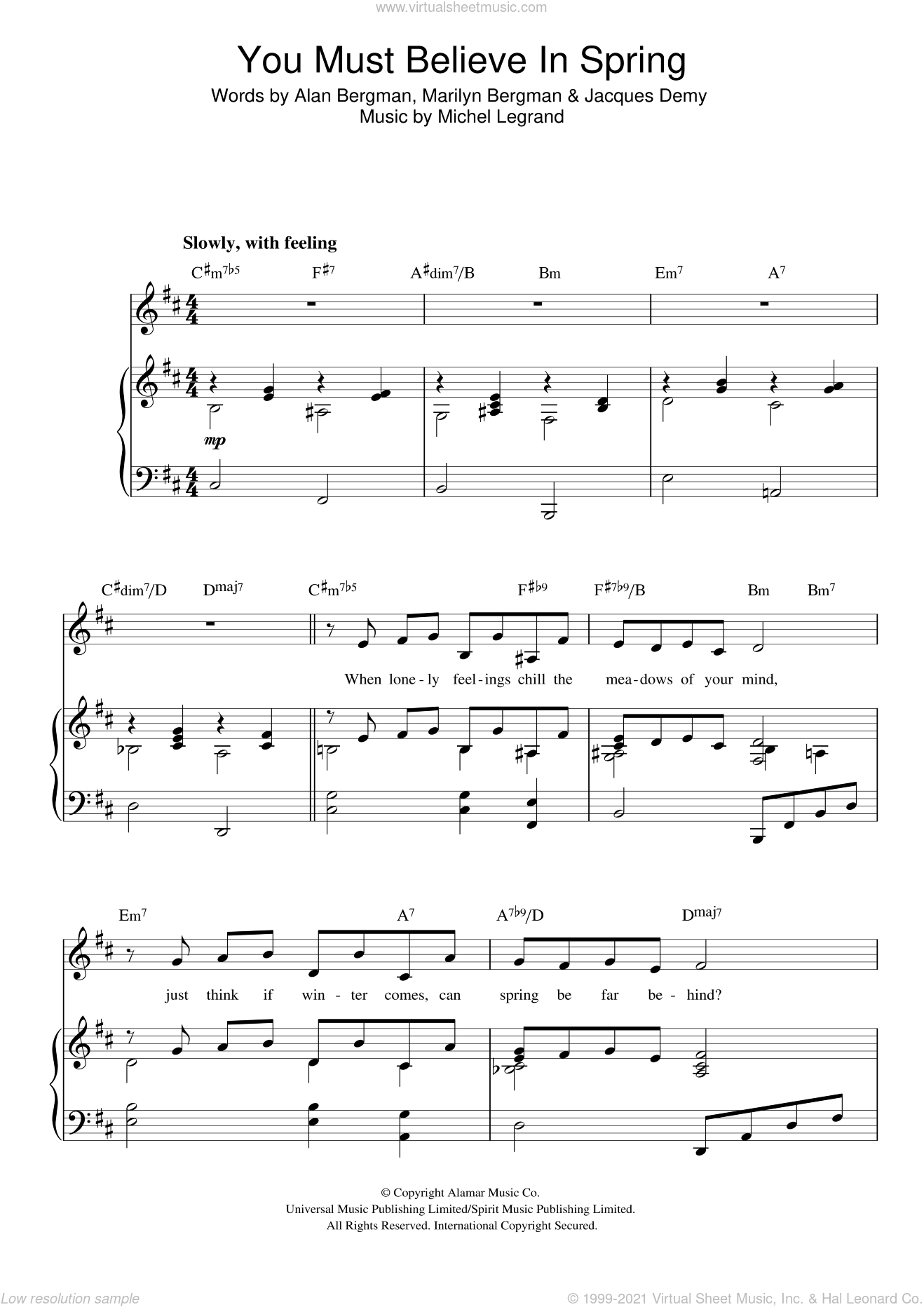 You Must Believe In Spring sheet music for voice, piano or guitar by Michel LeGrand, Alan Bergman, Jacques Demy and Marilyn Bergman, intermediate skill level