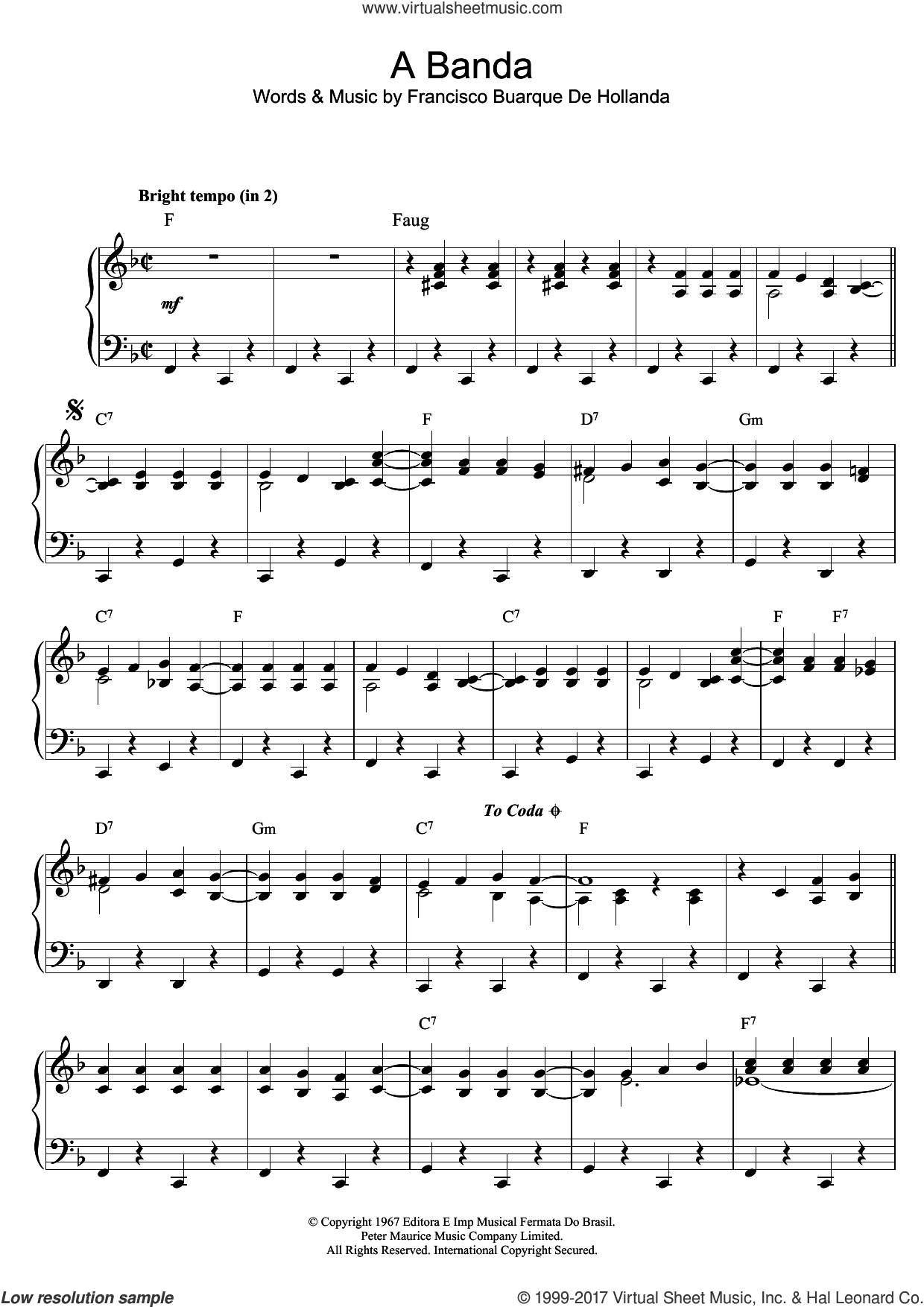 A Banda sheet music for piano solo by Herb Alpert & The Tijuana Brass and Francisco Buarque De Hollanda, intermediate skill level