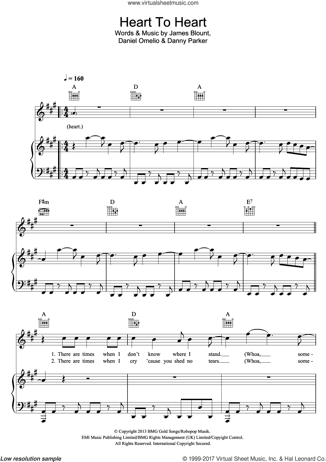 Heart To Heart sheet music for voice, piano or guitar by James Blunt, Daniel Omelio, Danny Parker and James Blount, intermediate skill level
