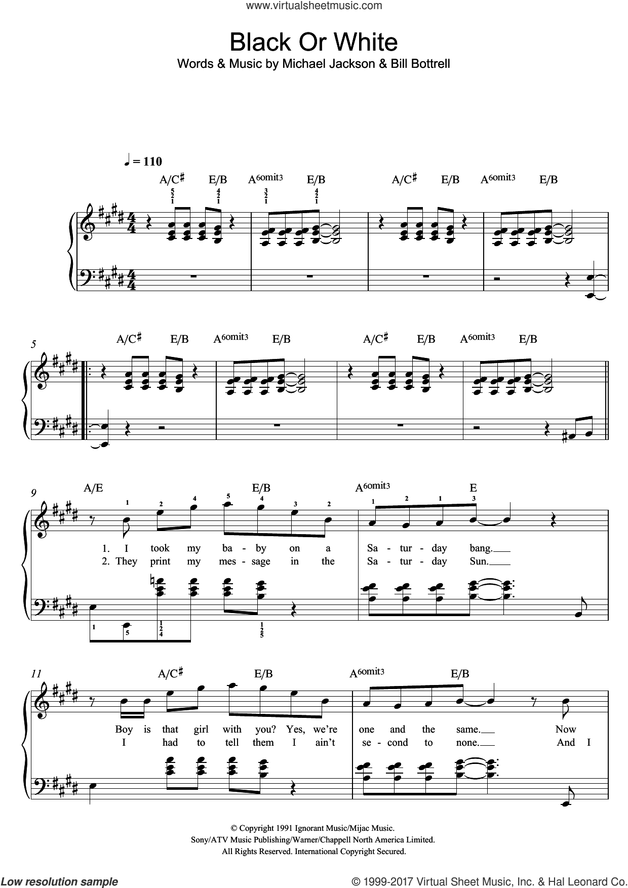 Black Or White sheet music for piano solo by Bill Bottrell and Michael Jackson. Score Image Preview.