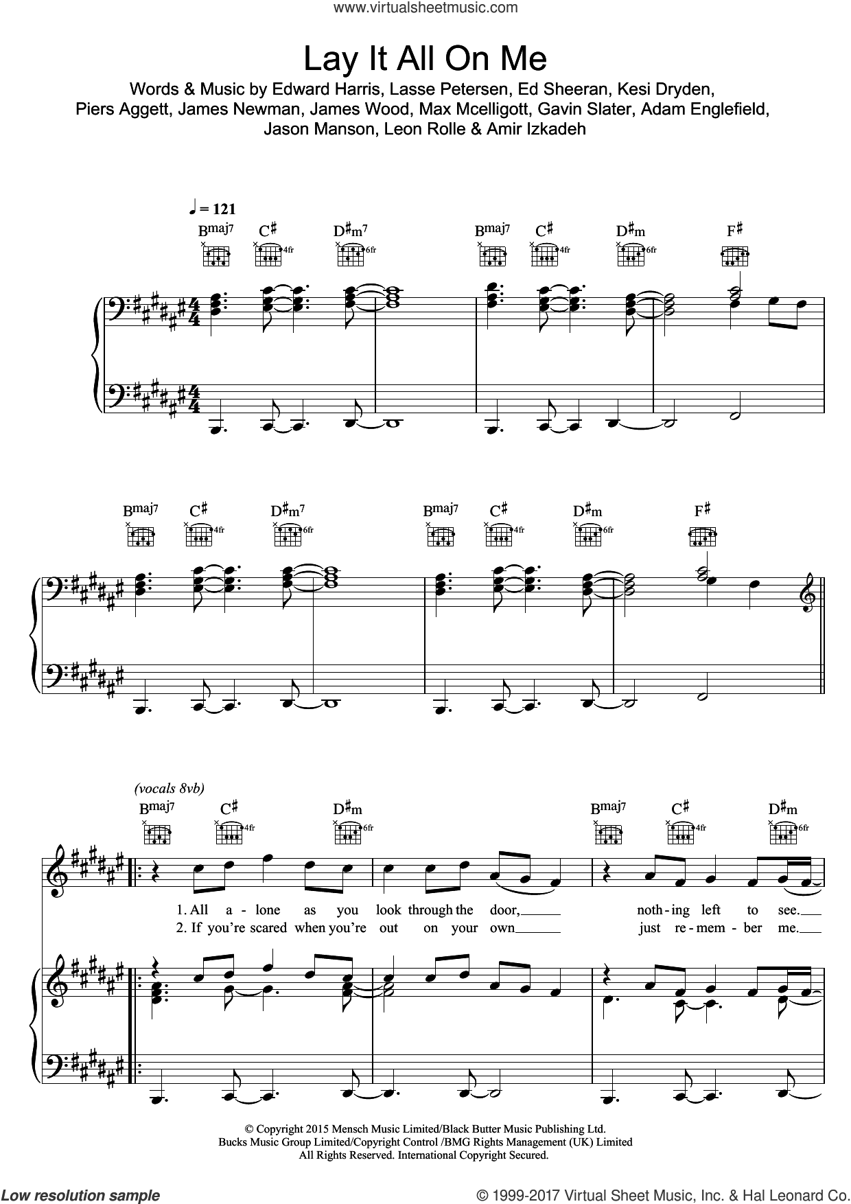 Lay It All On Me (featuring Ed Sheeran) sheet music for voice, piano or guitar by Rudimental, Adam Englefield, Amir Izkadeh, Ed Sheeran, Eddie Harris, Gavin Slater, James Newman, James Wood, Jason Manson, Kesi Dryden, Lasse Petersen, Leon Rolle, Max McElligott and Piers Aggett, intermediate. Score Image Preview.