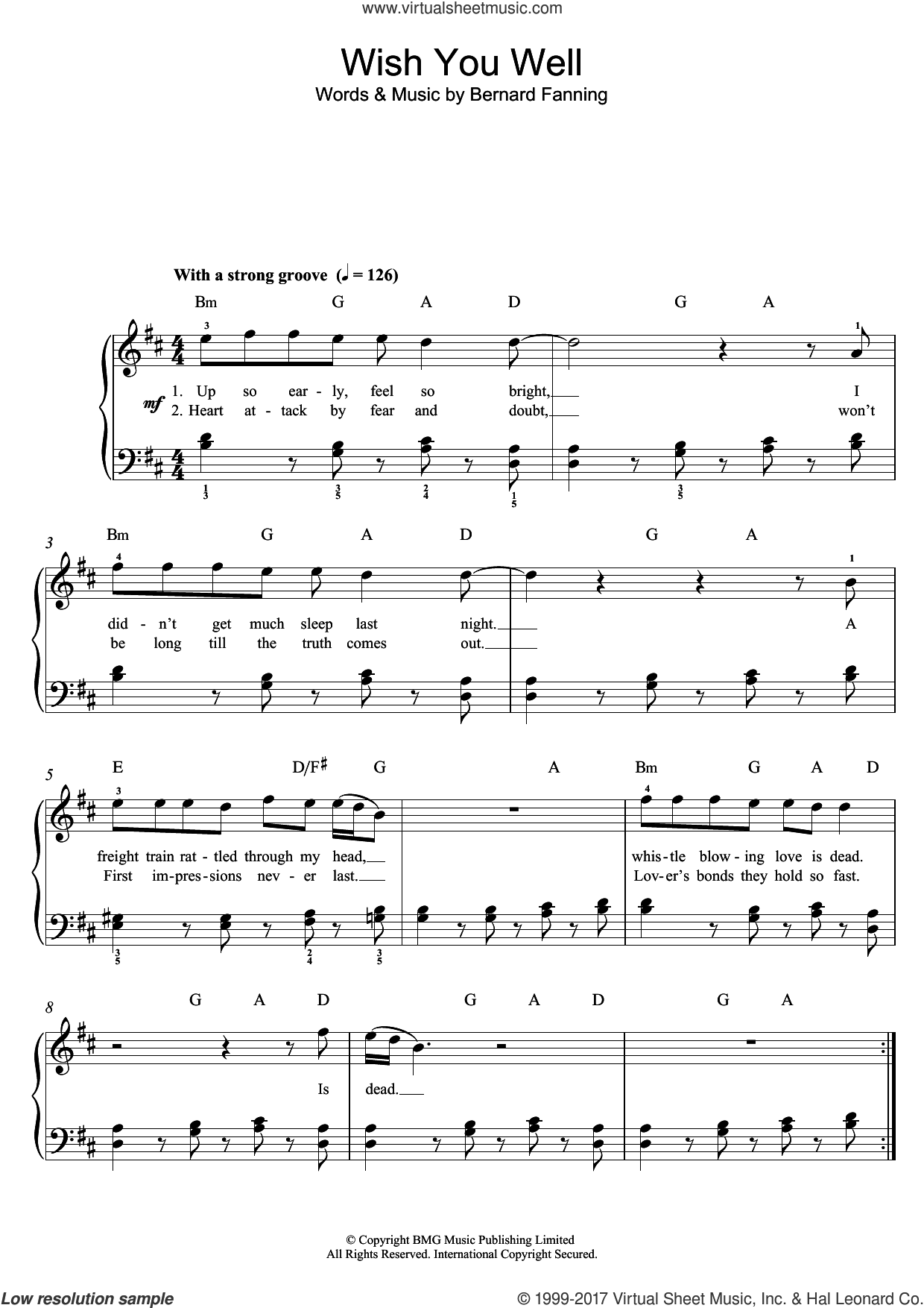 Wish You Well sheet music for piano solo (beginners) by Bernard Fanning, beginner piano (beginners). Score Image Preview.