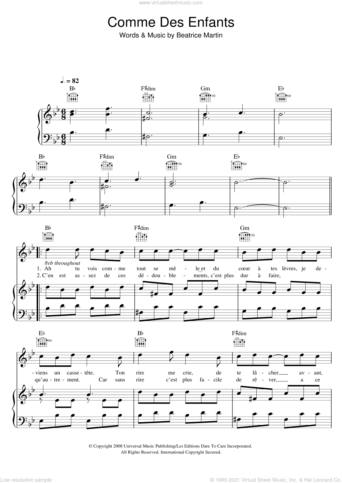 Comme Des Enfants sheet music for voice, piano or guitar by Coeur De Pirate and Beatrice Martin, intermediate skill level