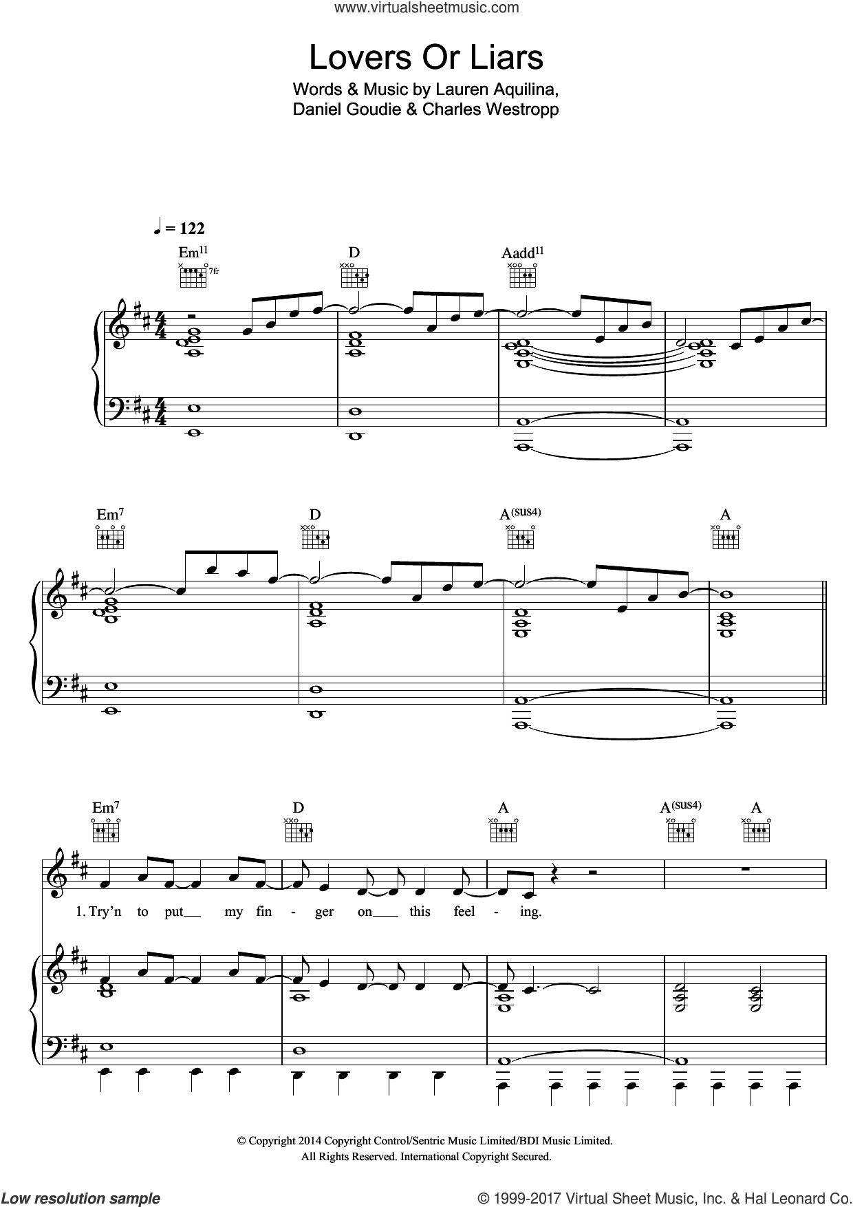 Lovers Or Liars sheet music for voice, piano or guitar by Lauren Aquilina, Charles Westropp and Daniel Goudie, intermediate skill level
