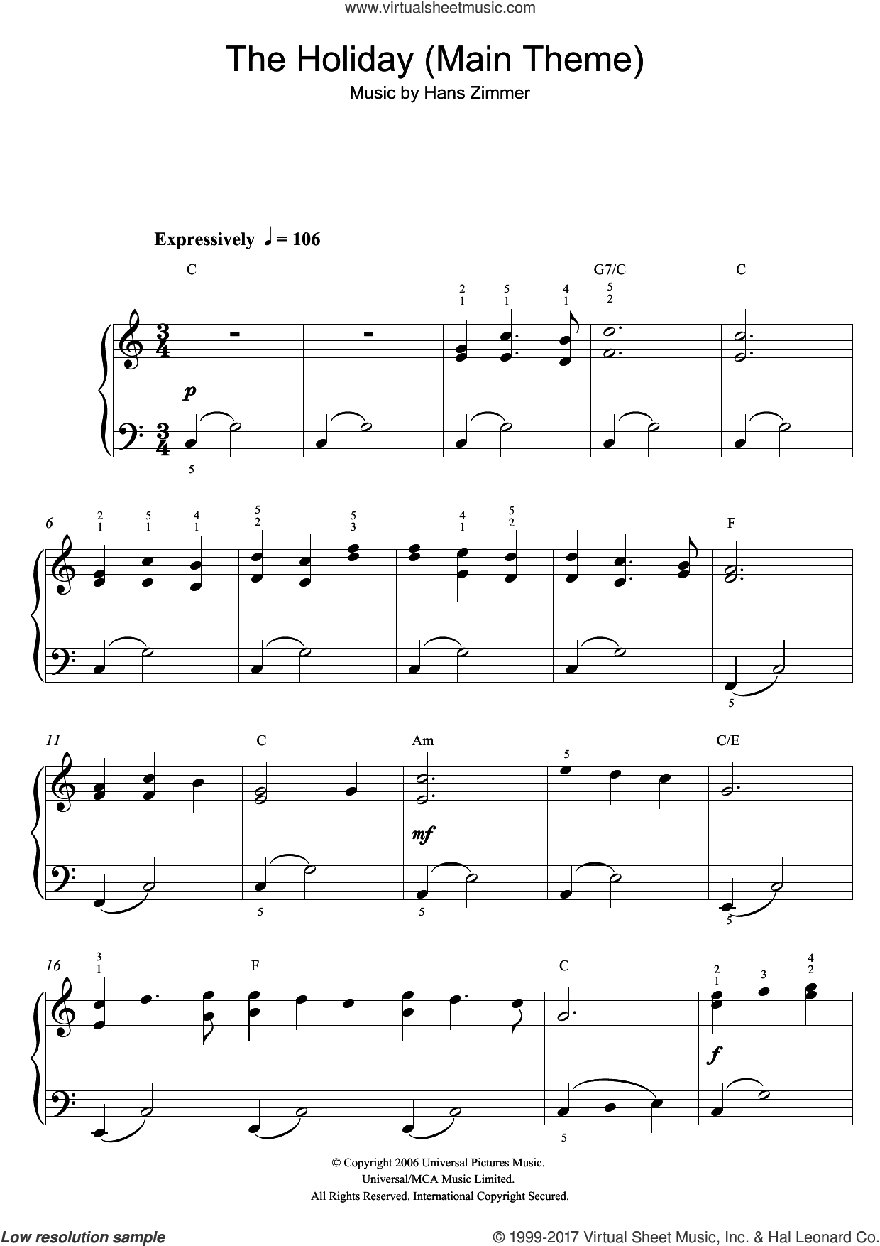 The Holiday (Main Theme) sheet music for piano solo (beginners) by Hans Zimmer, beginner piano (beginners)