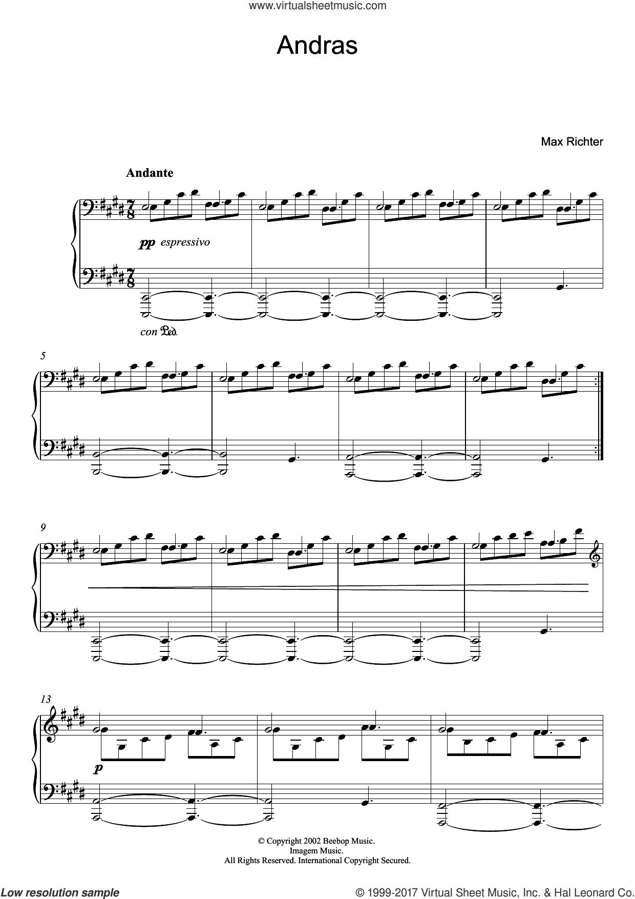 Andras sheet music for piano solo by Max Richter, classical score, intermediate skill level