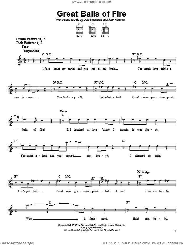 Great Balls Of Fire sheet music for guitar solo (chords) by Otis Blackwell, Jerry Lee Lewis and Jack Hammer. Score Image Preview.