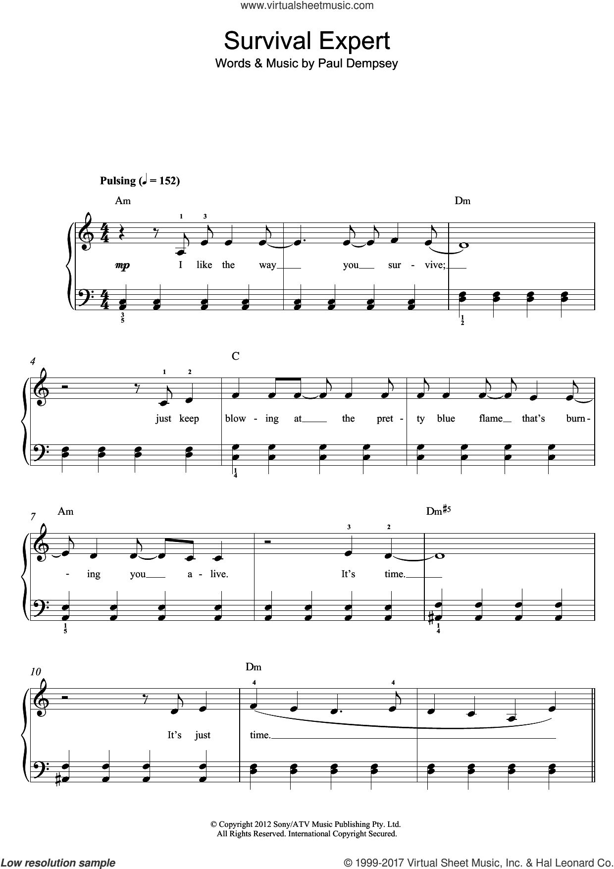 Survival Expert sheet music for piano solo (beginners) by Something For Kate and Paul Dempsey, beginner piano (beginners)