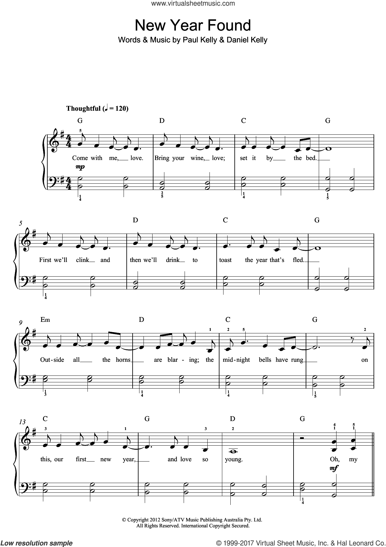 New Found Year sheet music for piano solo (beginners) by Paul Kelly, beginner piano (beginners). Score Image Preview.