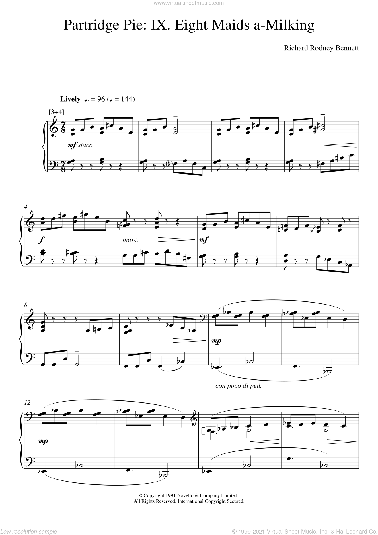 Eight Maids A-Milking (from Partridge Pie) sheet music for piano solo by Richard Bennett, classical score, intermediate skill level