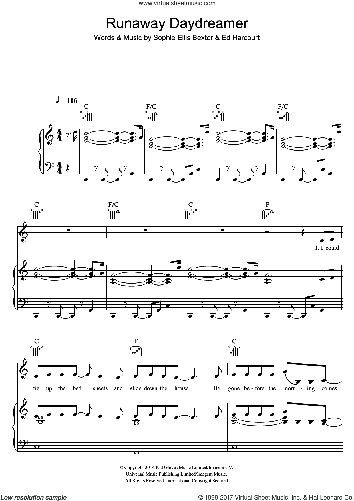 Runaway Daydreamer sheet music for voice, piano or guitar by Sophie Ellis-Bextor and Ed Harcourt, intermediate skill level