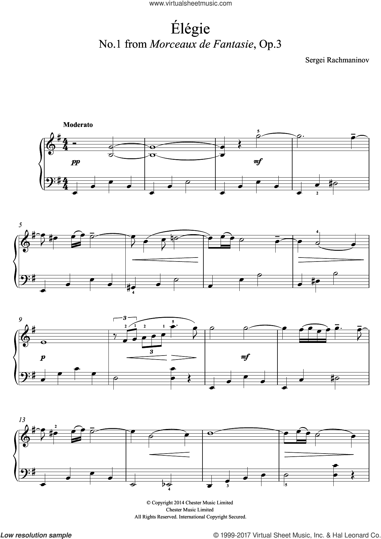 Elegie (No.1 from Morceaux de Fantasie, Op.3) sheet music for piano solo (beginners) by Serjeij Rachmaninoff, classical score, beginner piano (beginners)