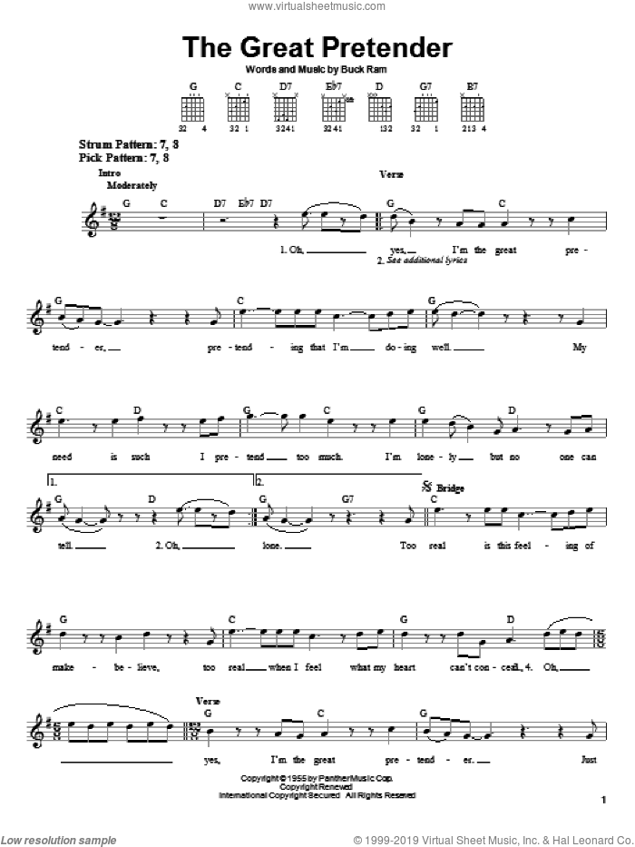 The Great Pretender sheet music for guitar solo (chords) by The Platters and Buck Ram, easy guitar (chords)