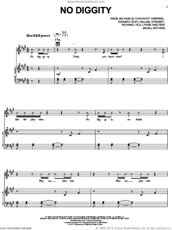 No Diggity sheet music for voice, piano or guitar by Blackstreet, Bill Withers, Chauncey Hannibal, Edward Riley, Lynise Walters, Richard Vick and William Stewart, intermediate skill level