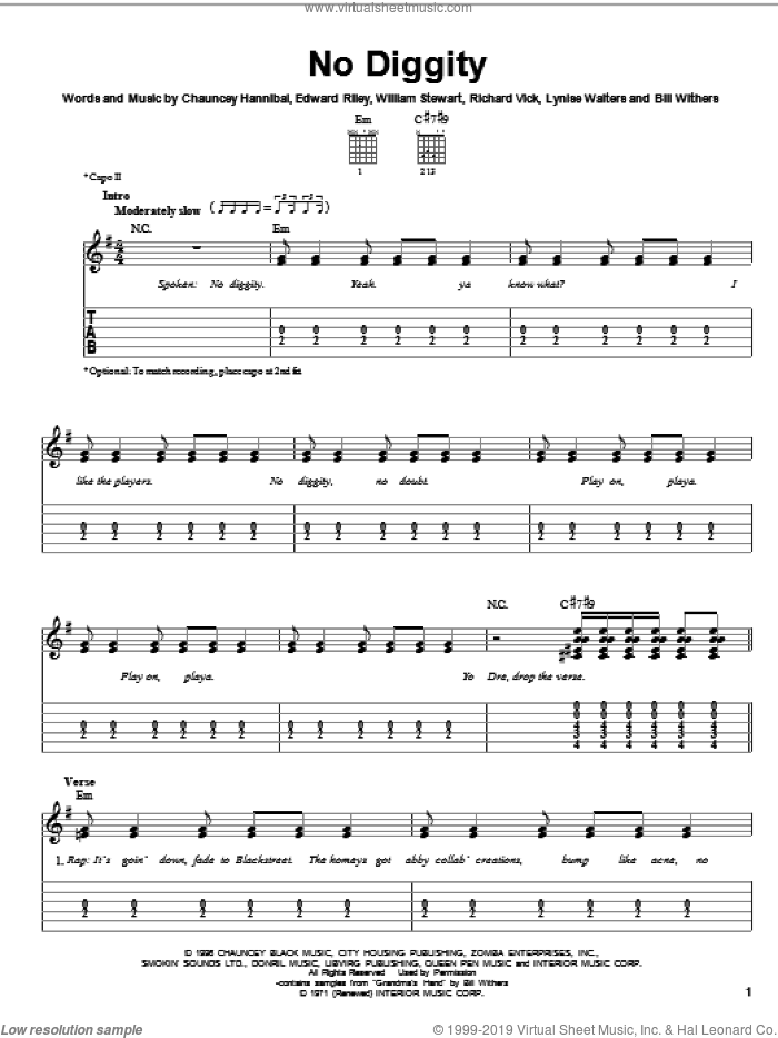 No Diggity sheet music for guitar solo (easy tablature) by William Stewart, Bill Withers and Edward Riley. Score Image Preview.