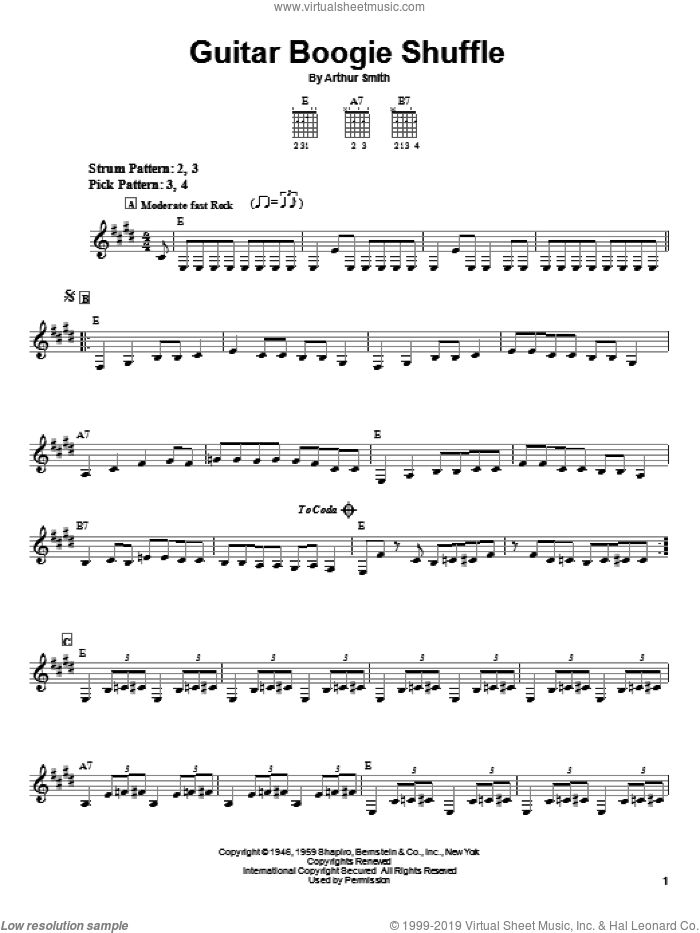 Guitar Boogie Shuffle sheet music for guitar solo (chords) by Arthur Smith. Score Image Preview.