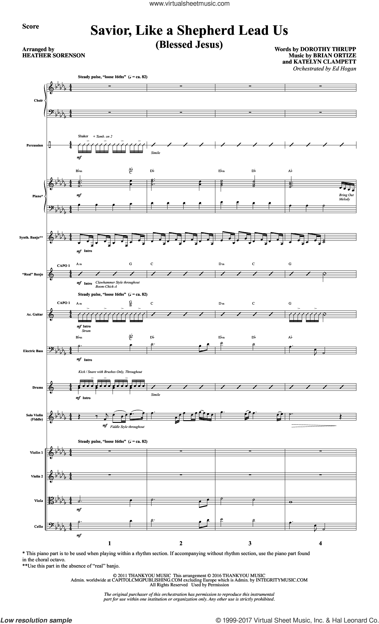 Savior, Like a Shepherd Lead Us (Blessed Jesus) (COMPLETE) sheet music for orchestra/band by Heather Sorenson, Brian Ortize, Dorothy Thrupp and Katelyn Clampett, intermediate. Score Image Preview.
