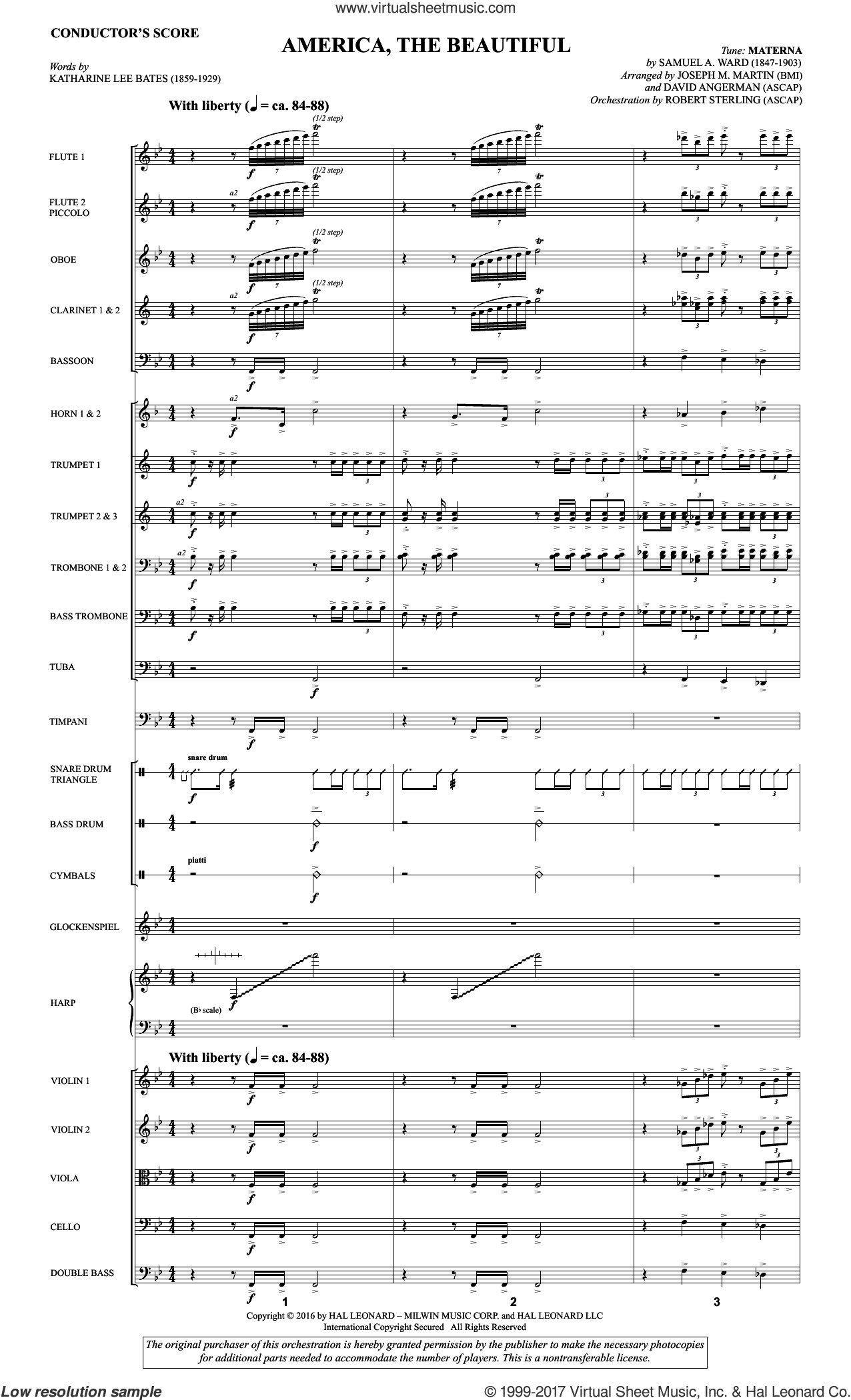 America, the Beautiful (COMPLETE) sheet music for orchestra/band by David Angerman, Joseph M. Martin, Katherine Lee Bates and Samuel Augustus Ward, intermediate skill level