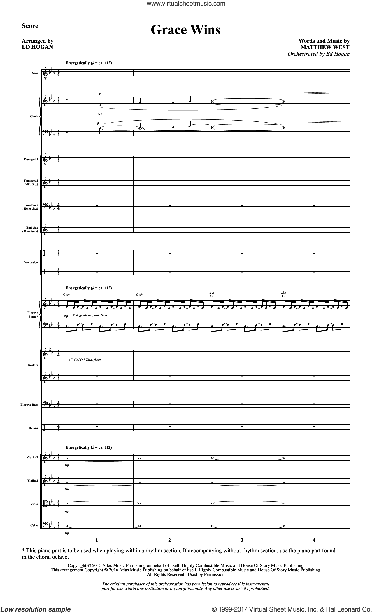 Grace Wins (COMPLETE) sheet music for orchestra/band by Ed Hogan and Matthew West, intermediate skill level