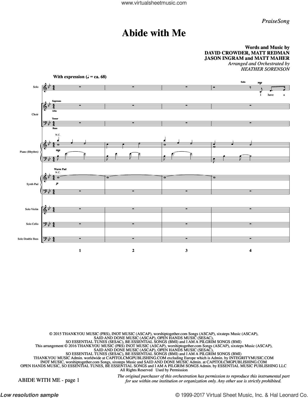 Abide with Me (COMPLETE) sheet music for orchestra/band by Heather Sorenson, David Crowder, Jason Ingram, Matt Maher and Matt Redman, intermediate skill level