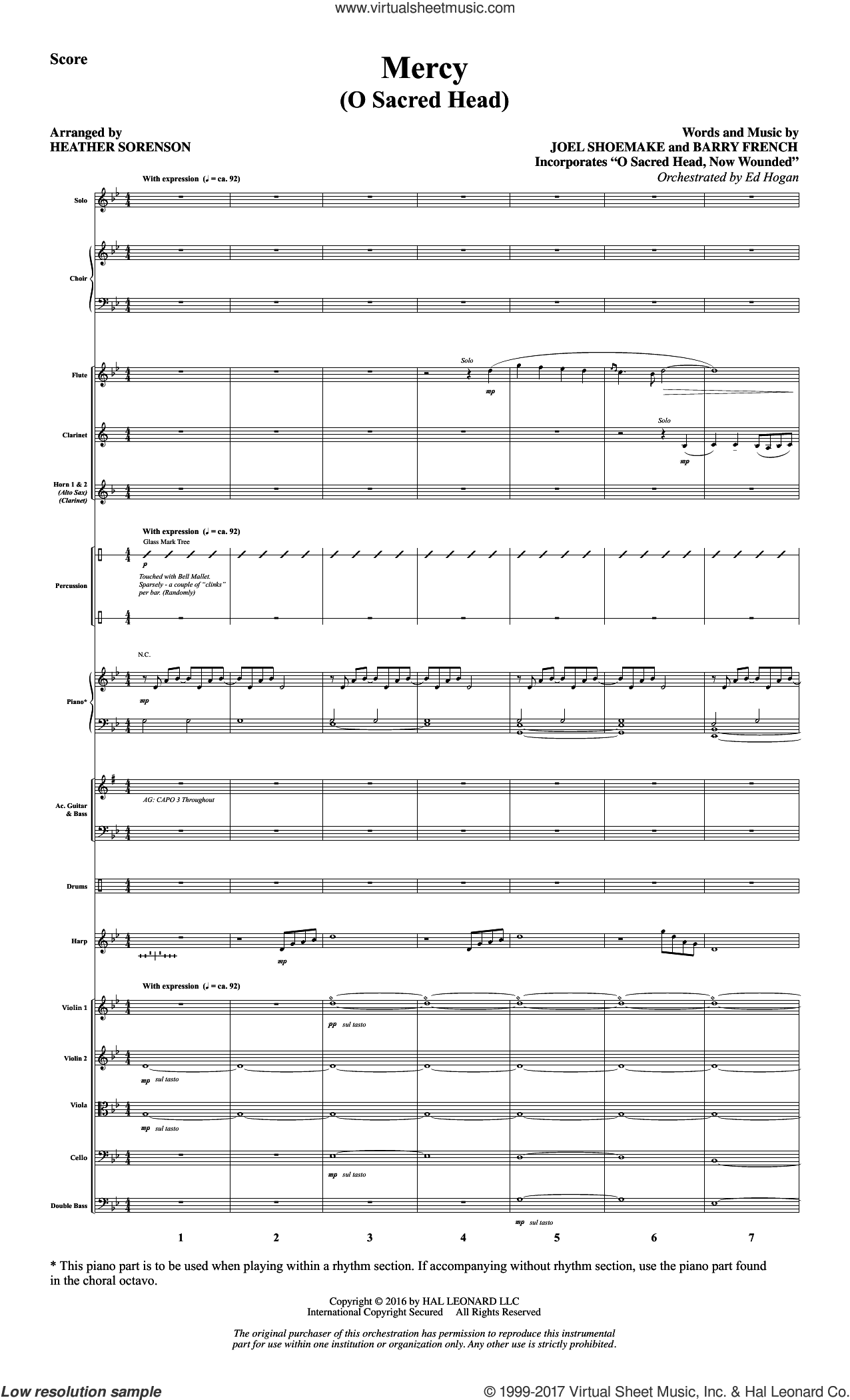 Mercy (O Sacred Head) (COMPLETE) sheet music for orchestra/band by Heather Sorenson, Barry French and Joel Shoemake, intermediate. Score Image Preview.