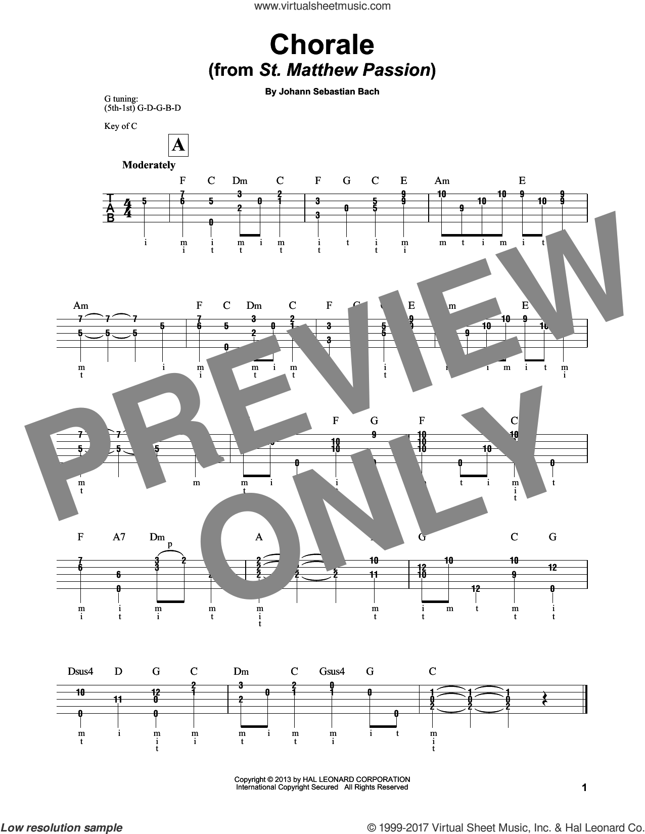 Chorale sheet music for banjo solo by Johann Sebastian Bach and Mark Phillips, classical score, intermediate skill level