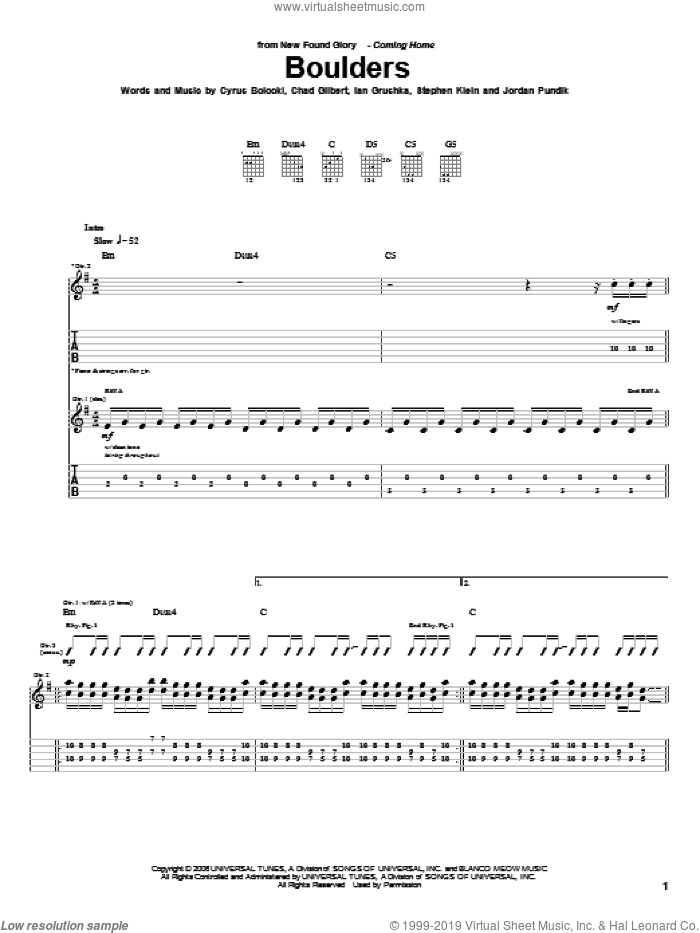 Boulders sheet music for guitar (tablature) by New Found Glory. Score Image Preview.