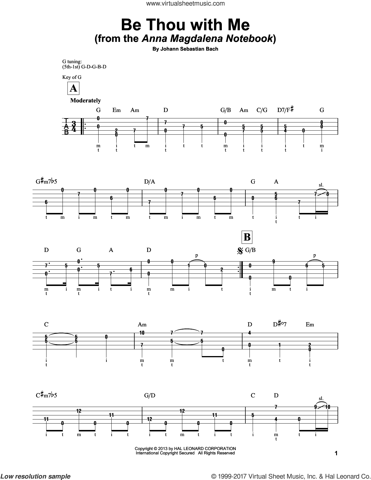 Be Thou With Me sheet music for banjo solo by Johann Sebastian Bach and Mark Phillips, classical score, intermediate