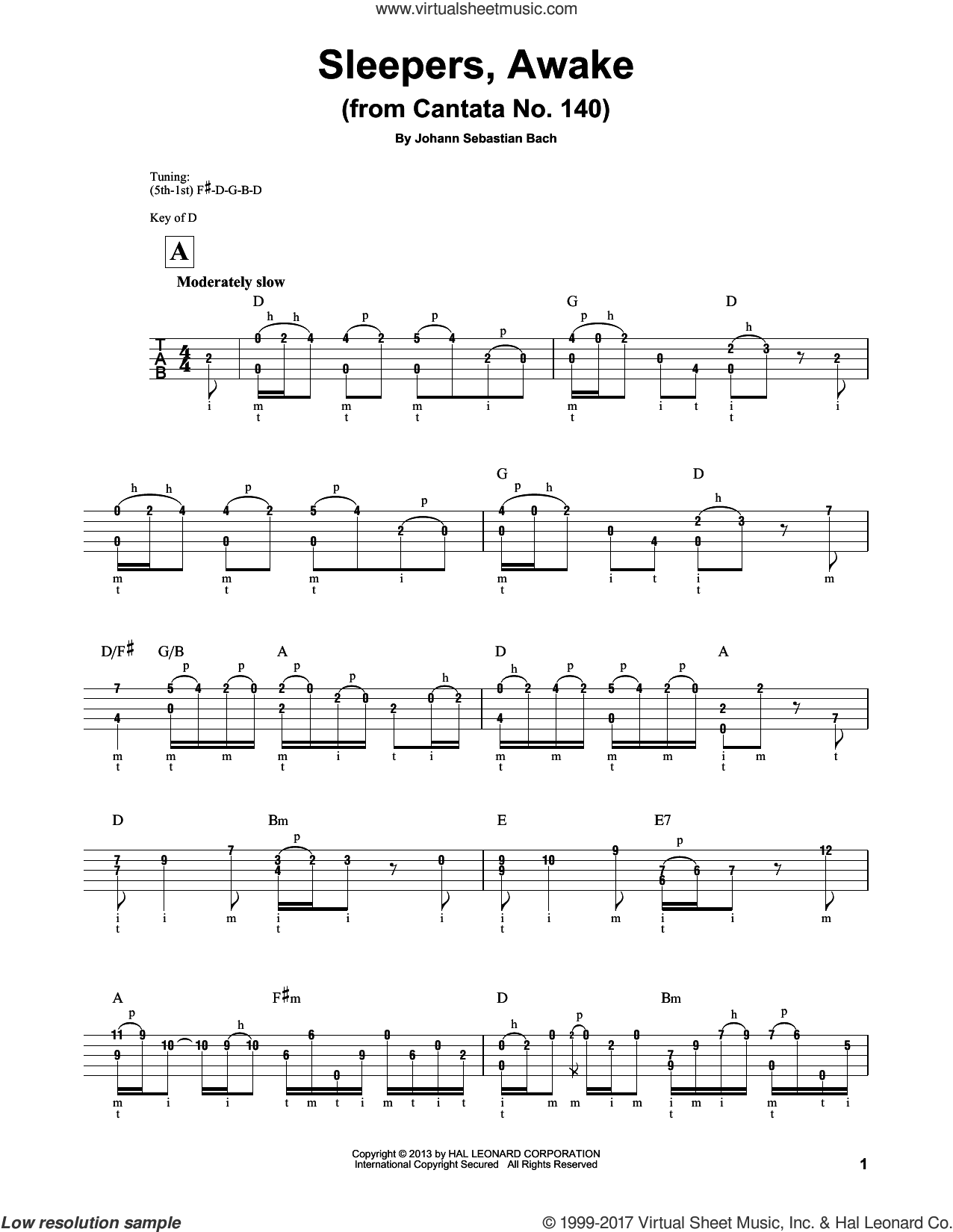 Sleepers, Awake (Wachet Auf) sheet music for banjo solo by Johann Sebastian Bach and Mark Phillips, classical score, intermediate skill level