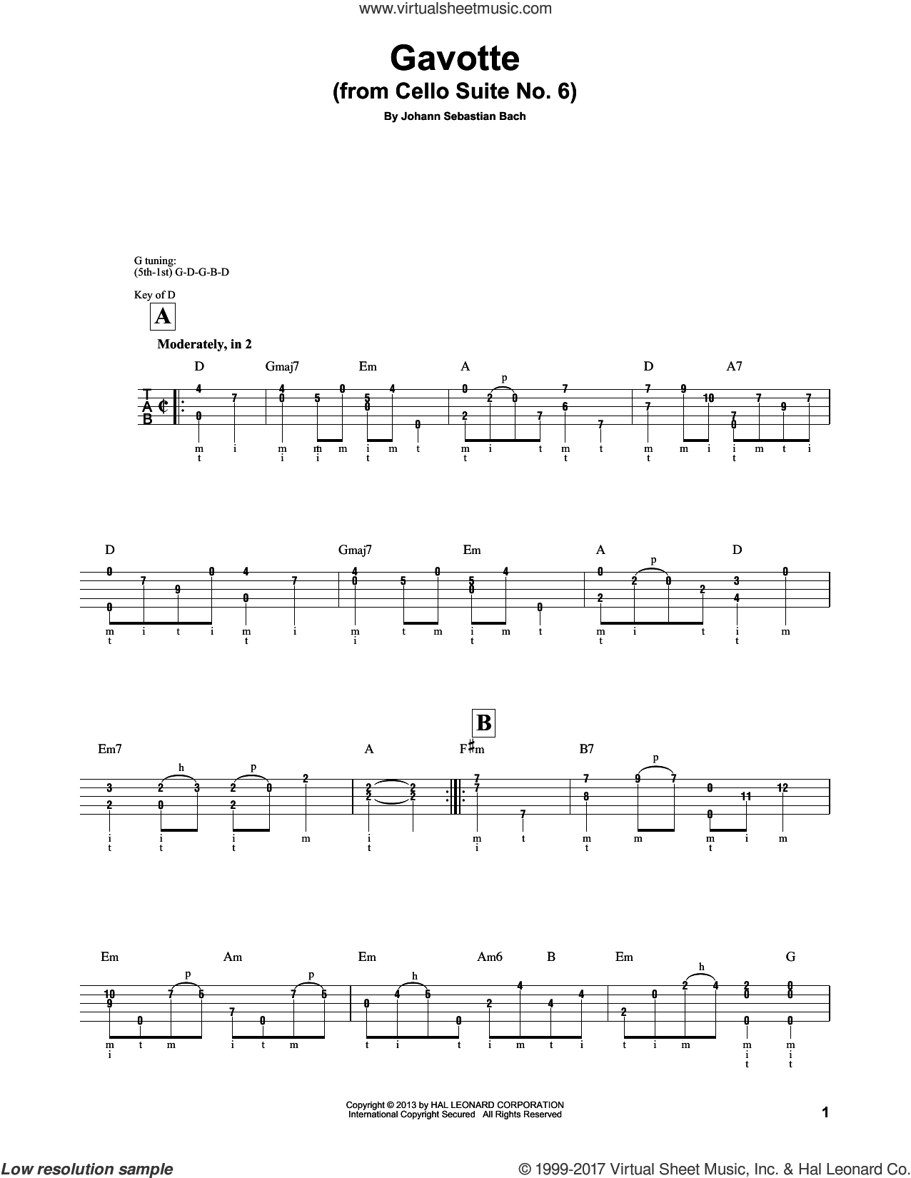 Cello Suite No. 6, BWV 1012 'Gavotte I' sheet music for banjo solo by Johann Sebastian Bach and Mark Phillips, classical score, intermediate skill level