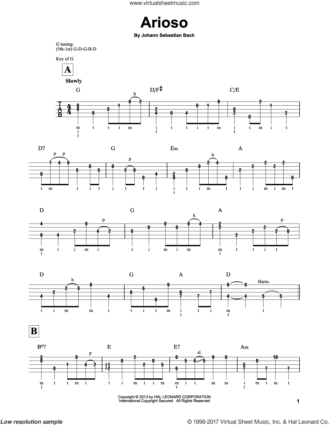Arioso sheet music for banjo solo by Johann Sebastian Bach and Mark Phillips, classical score, intermediate skill level