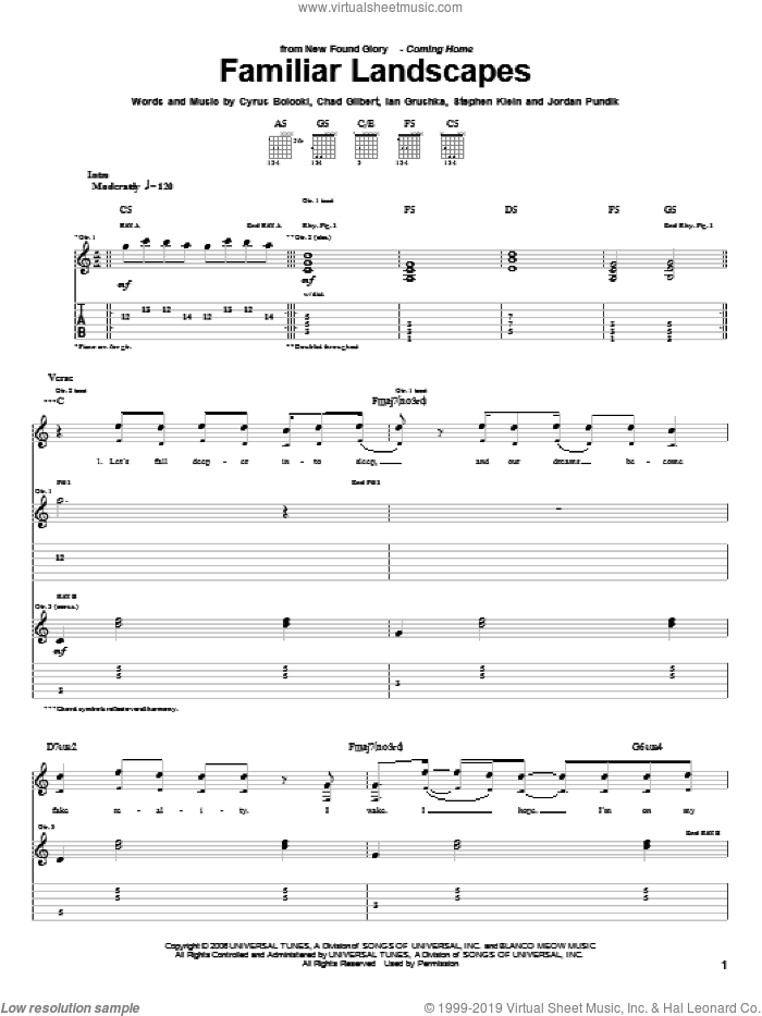 Familiar Landscapes sheet music for guitar (tablature) by Steve Klein and New Found Glory. Score Image Preview.