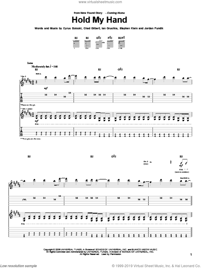 Hold My Hand sheet music for guitar (tablature) by Steve Klein and New Found Glory. Score Image Preview.