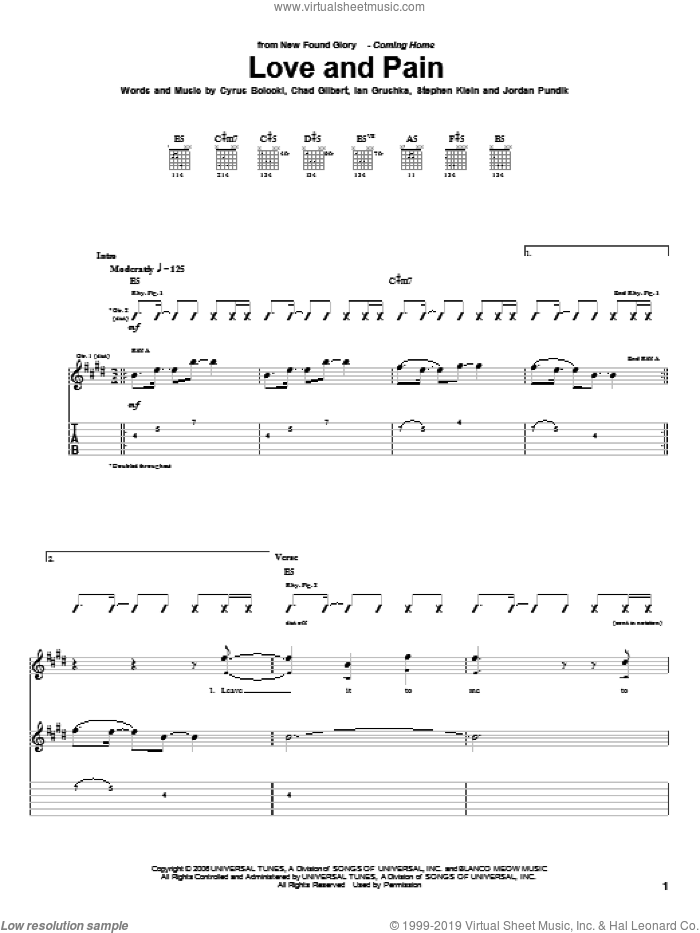 Love And Pain sheet music for guitar (tablature) by Steve Klein and New Found Glory. Score Image Preview.