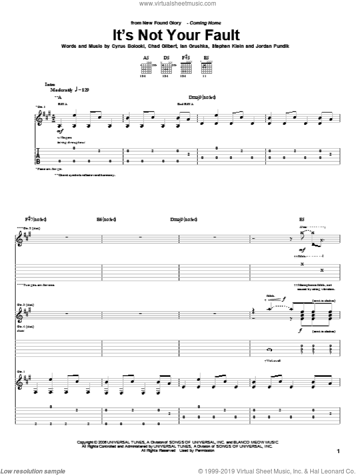 It's Not Your Fault sheet music for guitar (tablature) by Steve Klein and New Found Glory. Score Image Preview.