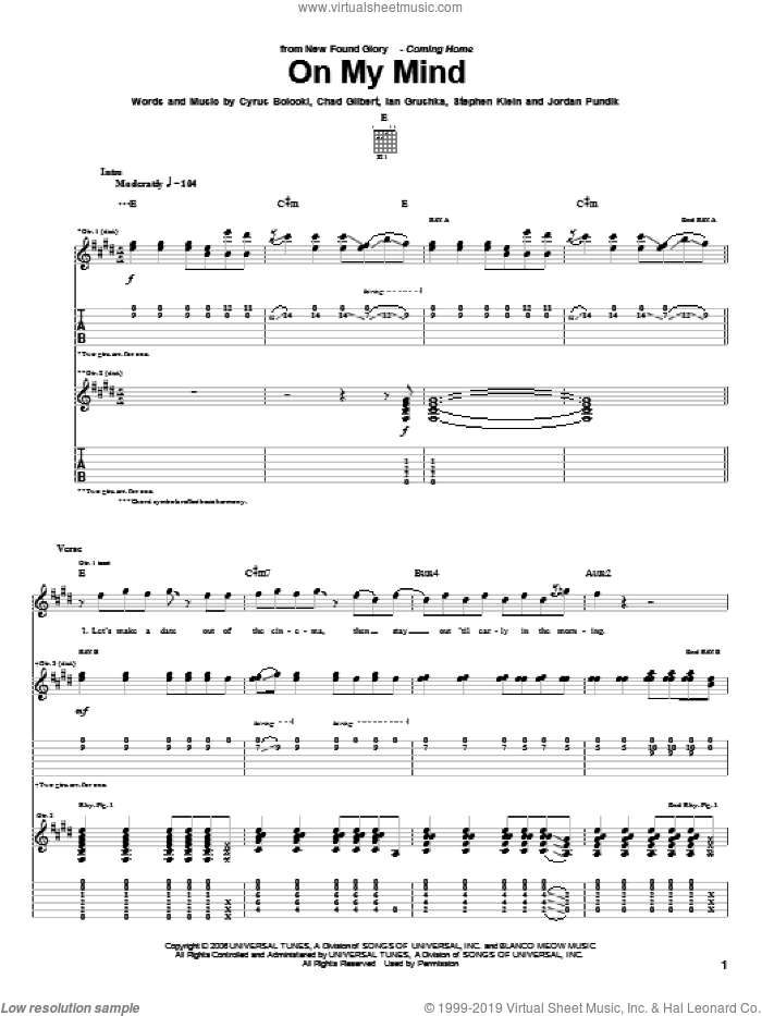 On My Mind sheet music for guitar (tablature) by Steve Klein and New Found Glory. Score Image Preview.