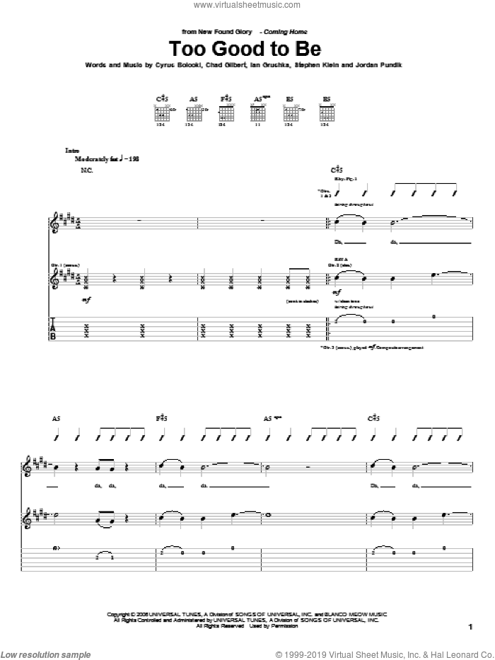 Too Good To Be sheet music for guitar (tablature) by Steve Klein and New Found Glory. Score Image Preview.