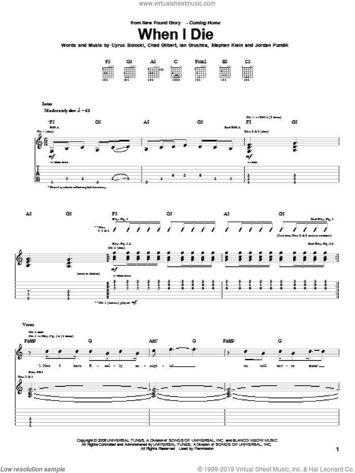 When I Die sheet music for guitar (tablature) by Steve Klein and New Found Glory. Score Image Preview.