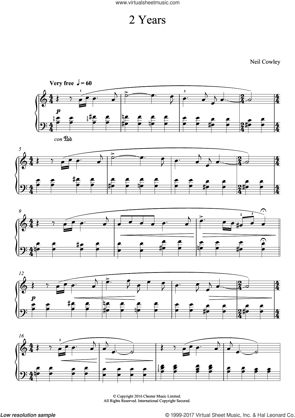 2 Years sheet music for piano solo by Neil Cowley, classical score, easy. Score Image Preview.