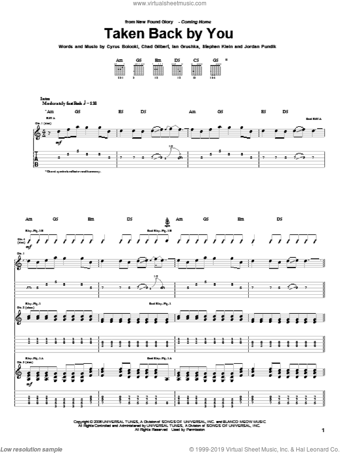 Taken Back By You sheet music for guitar (tablature) by New Found Glory. Score Image Preview.