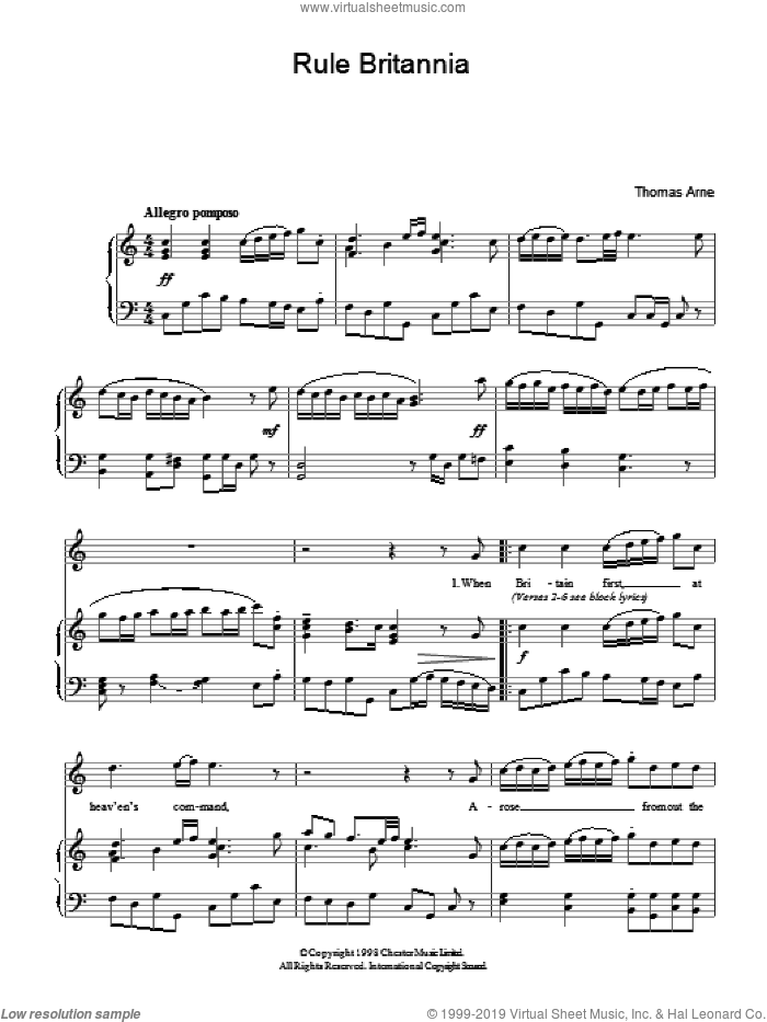 Rule Britannia sheet music for voice, piano or guitar by Thomas Arne, intermediate skill level
